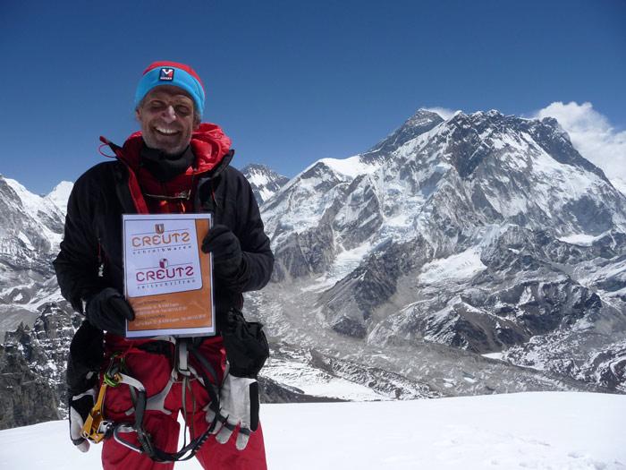 So oft war er schon so nah: das Everest Massiv vom Lobuche aus.