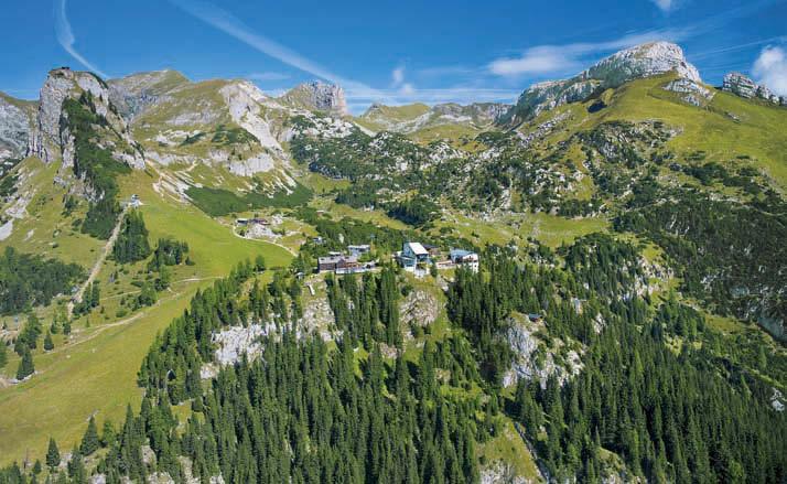 Bergstation und Erfurter Hütte sowie Haidachstellwand, Rosskopf und Hochiss aus dem Flugzeug