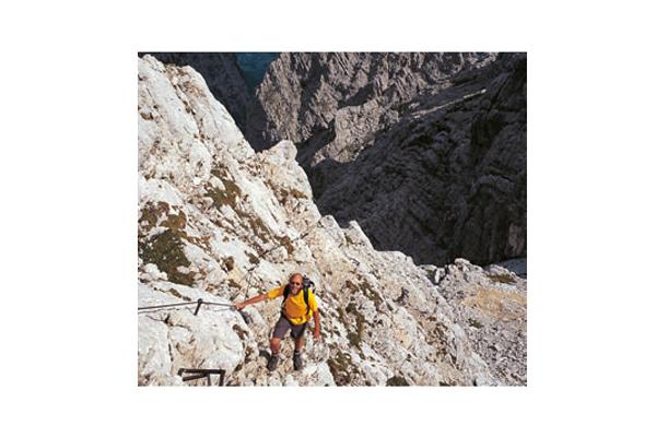 Exzellent gesichert präsentiert sich die Alpspitz-Ferrata