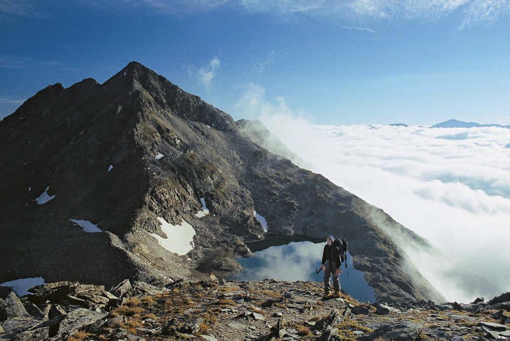Über dem Wolkenmeer – zum Gipfel des Ankogel ist es nicht mehr weit; hinten das Südliche Schwarzhorn