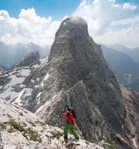 Ein einfacher Klettersteig führt über die Neue Traunsteiner Hütte zum Wagendrischelhorn