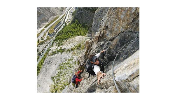 Hoch über dem Val d'Isère verläuft die Ferrata du Roc de la Tovière