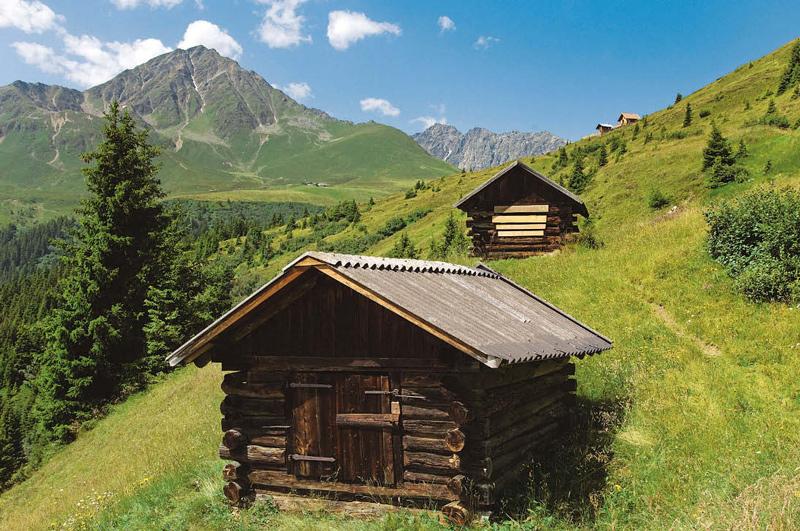 Die Almen und Heustadel sind perfekte Pausenplätzchen beim Aufstieg zum Roßkogel.
