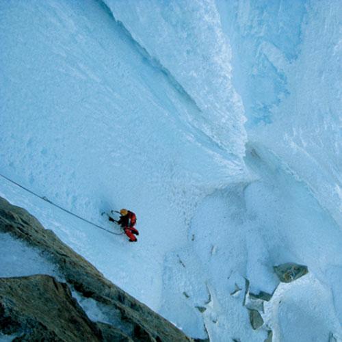 Eiskalte Herausforderung – fast senkrechtes Blankeis führt unter die »Headwall«