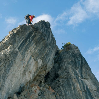 2008 wurden an der Kanzelwand zwei Klettersteige eröffnet: ein kurzer für Anfänger und ein sportlicher für erfahrene Ferratisti - Foto: Kleinwalsertal Tourismus