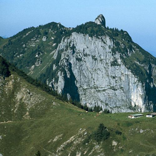 Die Probstenwand mit dem Gipfel des Hennenkopfs hinter der Tennenalm am Brauneck