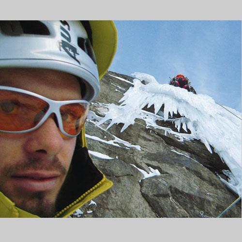 »Gott sei Dank darf sich Albert mit dem brüchigen Eiszapfen herumschlagen«, denkt sich Benni am vierten Standplatz…Alle Fotos: Albert Leichtfried