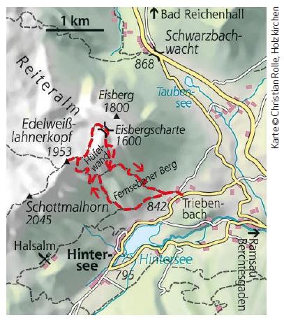 Bergtour Edelweisslahner karte