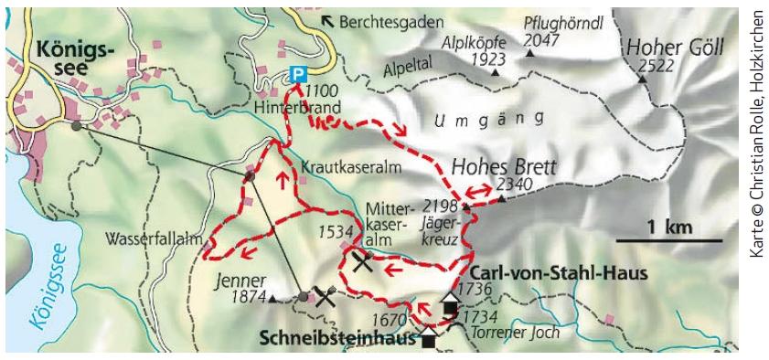 Bergtour Hohes Brett Karte