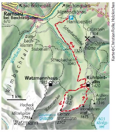 Kleiner Watzmann Überschreitung Karte