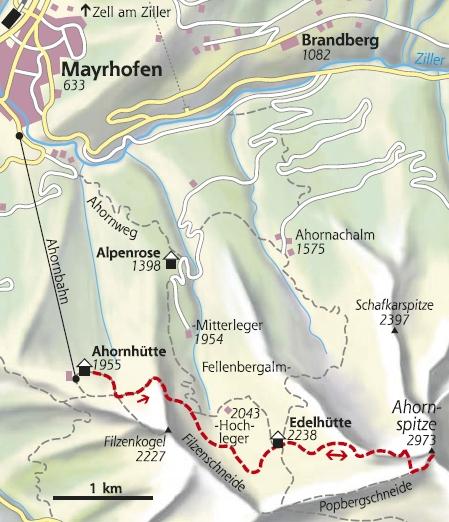 Wanderkarte 1. Etappe Berliner Höhenweg Edelhütte