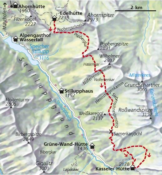 Wanderkarte 2. Etappe Berliner Höhenweg Edelhütte