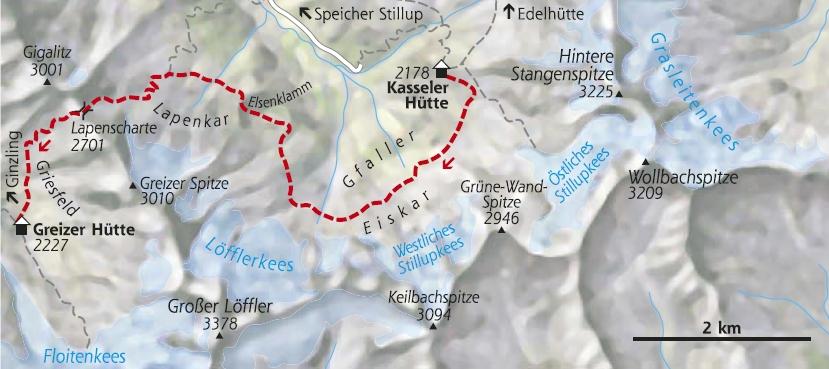 Wanderkarte 3. Etappe Berliner Höhenweg Edelhütte
