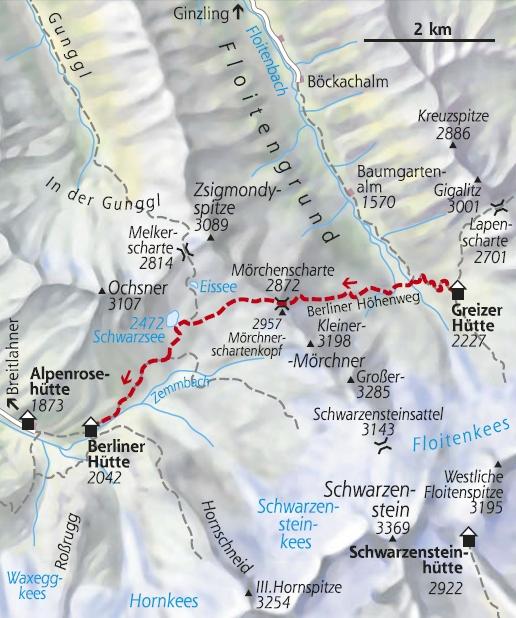Wanderkarte 4. Etappe Berliner Höhenweg Edelhütte