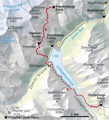 Wanderkarte 6. Etappe Berliner Höhenweg