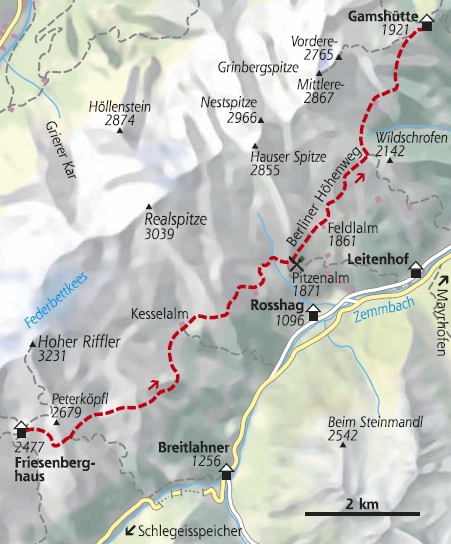 Wanderkarte 7. Etappe Berliner Höhenweg