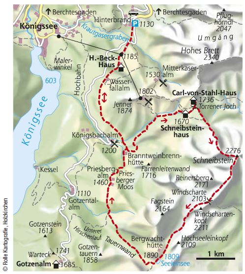 Karte Schneibstein Berchtesgadener Alpen