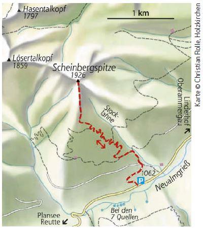 scheinbergspitze Karte