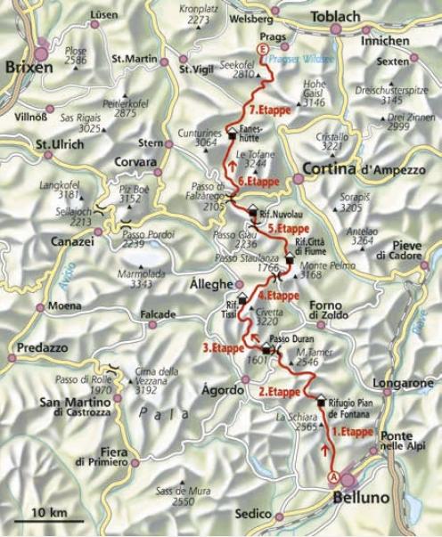 Dolomiten Höhenweg Nr. 1 Karte