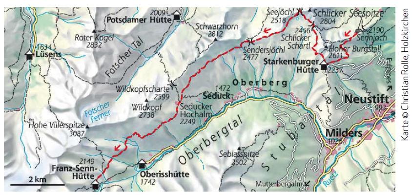 Stubaier Höhenweg Etappe 1 Karte