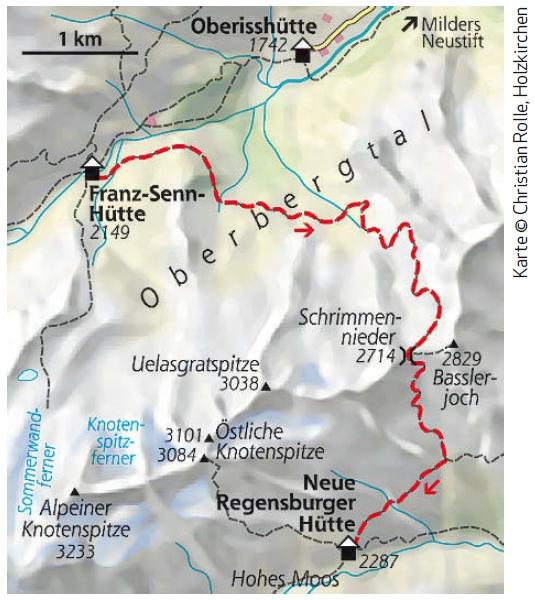 Stubaier Höhenweg Etappe 2 Karte