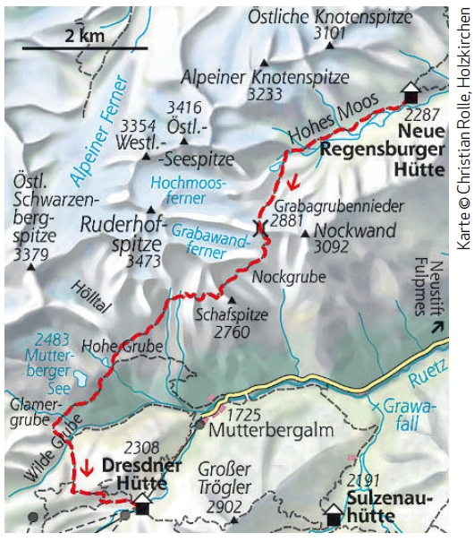 Stubaier Höhenweg Etappe 3 Karte