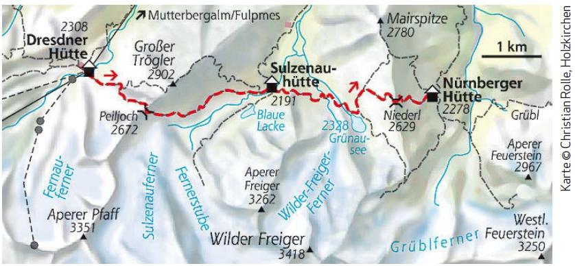 Stubaier Höhenweg Etappe 4 Karte