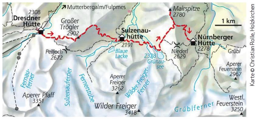 Stubaier Höhenweg Etappe 4 Gipfelvariante Karte