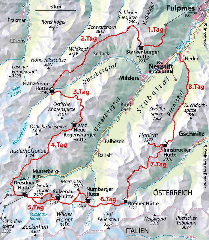 Die Etappen des Stubaier Höhenwegs