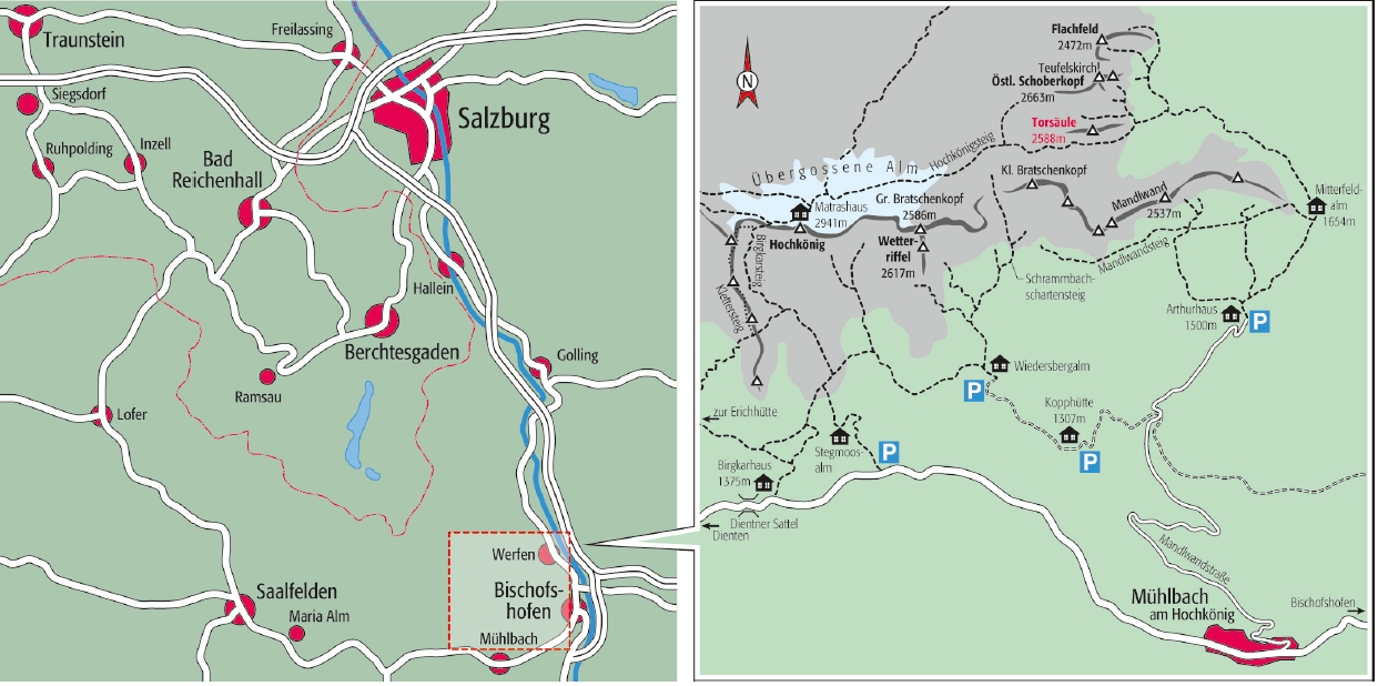 Anfahrt Alpinklettergebiet Hochkönig