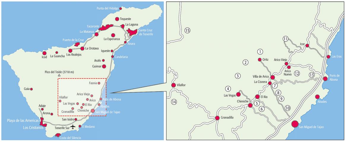 Karte Klettern Teneriffa