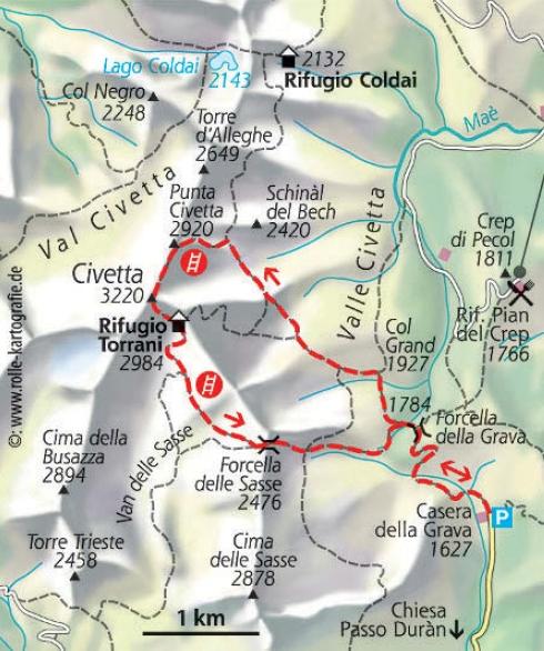 Civetta Dolomiten karte