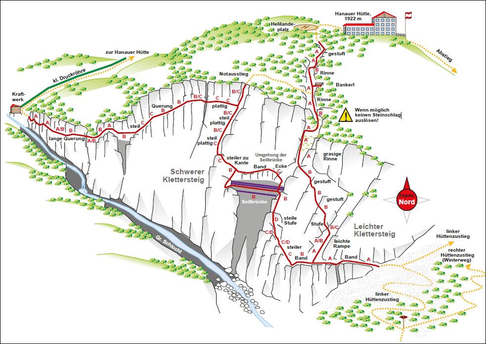 Hanauer Klettersteig Uebersichtskarte