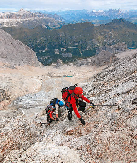 Klettersteig Marmolada Westgrat