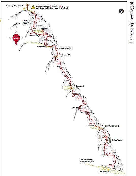 Karte Köllenspitze Klettersteig