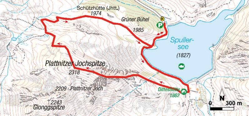 Plattnitzer Jochspitze, Ostgrat