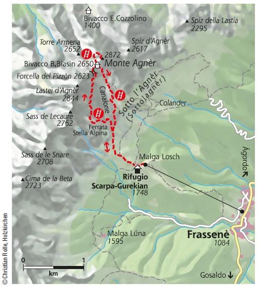 Via Ferrata Stella Alpina Karte