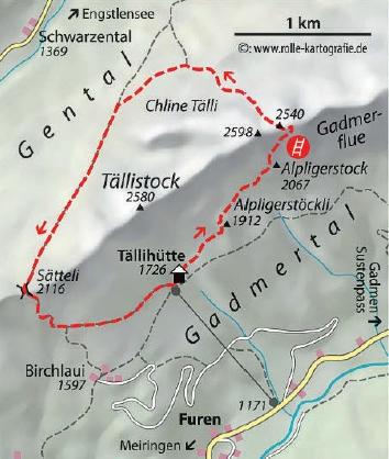 Taelli Klettersteig Karte