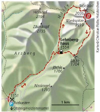 Wankspitze Klettersteig Karte