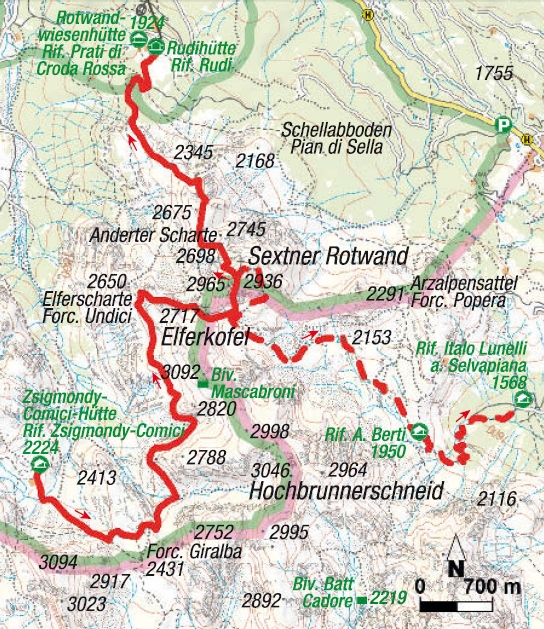 Karte 4. Etappe Sextener Klettersteigrunde