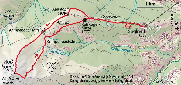 Wanderkarte Bergtour Rosskogel