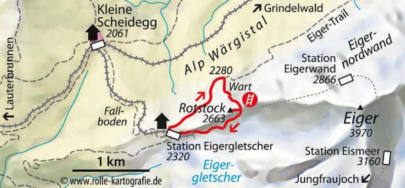 Eiger-Rotstock-Klettersteig Karte
