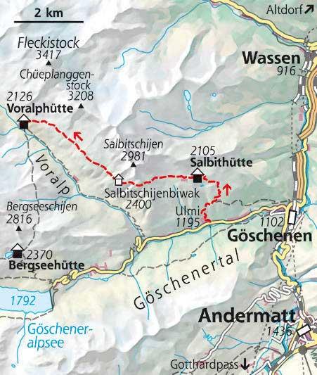 Wanderkarte Etappe 1 Hüttentour Schweiz