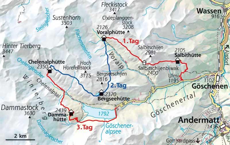 Wanderkarte Hüttentour Göschenertal Schweiz