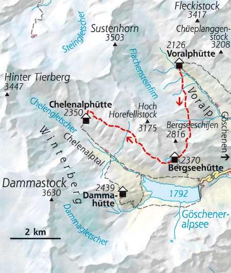 Wanderkarte Etappe 2 Hüttentour Schweiz