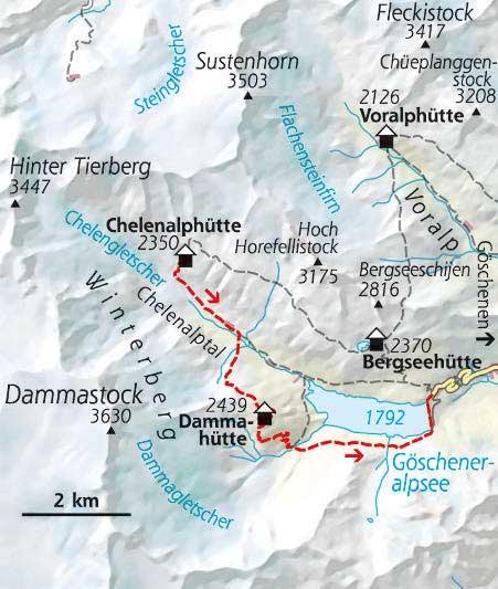 Wanderkarte Etappe 3 Hüttentour Schweiz
