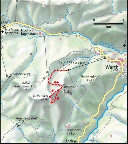 Karhorn Klettersteig Karte