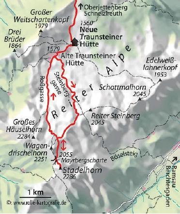 karte Wagendrischelhorn Klettersteig