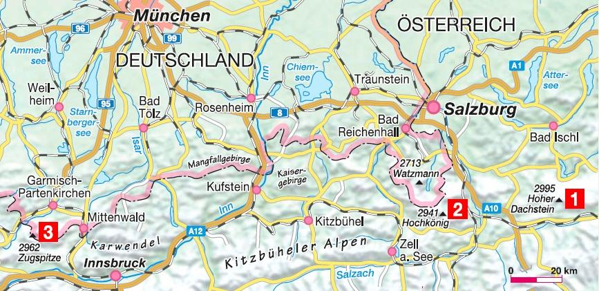 Dachstein-Super-Ferrata, Königsjodler, Mauerläufer Karte