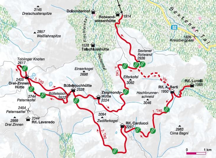Übersichtskarte Klettersteigrunde Sextener Dolomiten